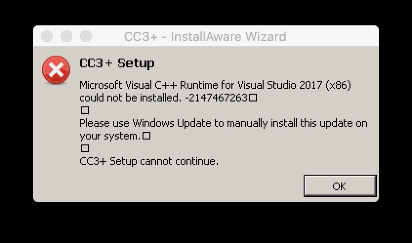 CC3+ Installer error message